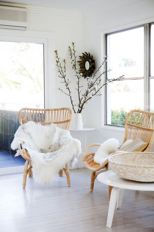 "Sneak Peek: Alice Flynn. ""These chairs fill the space to create a small nook off the kitchen, which would otherwise be a corridor. To highlight the cane, I have used different white textured pieces to add a depth to the space."" #sneakpeek"