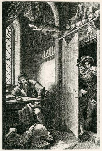 Johann Heinrich Ramberg, Zeichnungen zu Goethes Faust, Studierzimmer, Faust und Mephisto, Kupferstich von Carl August Schwerdgeburth
