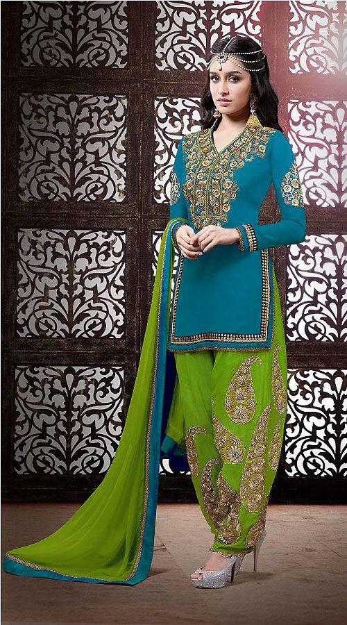 Shraddha Kapoor Blue Georgette Bollywood Punjabi Suit