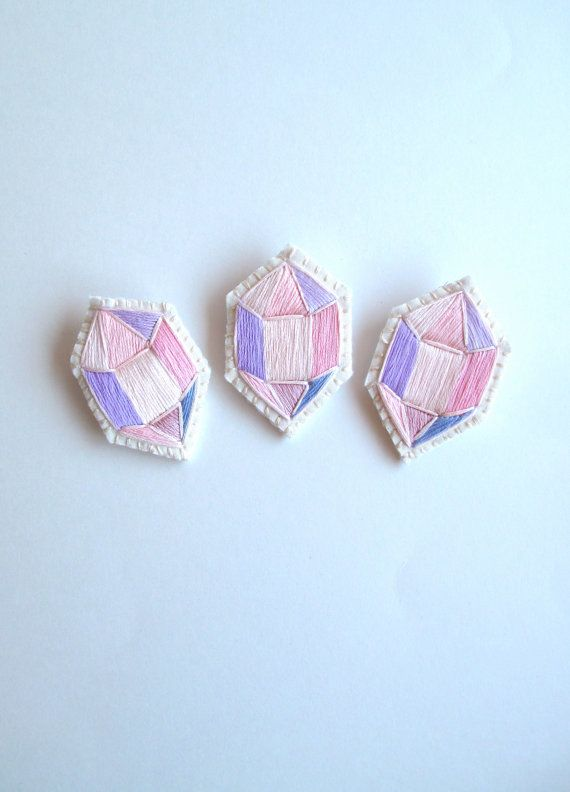 Embroidered brooch geometric faux gem in pretty pinks and lavenders on cream muslin with silver plated pin back