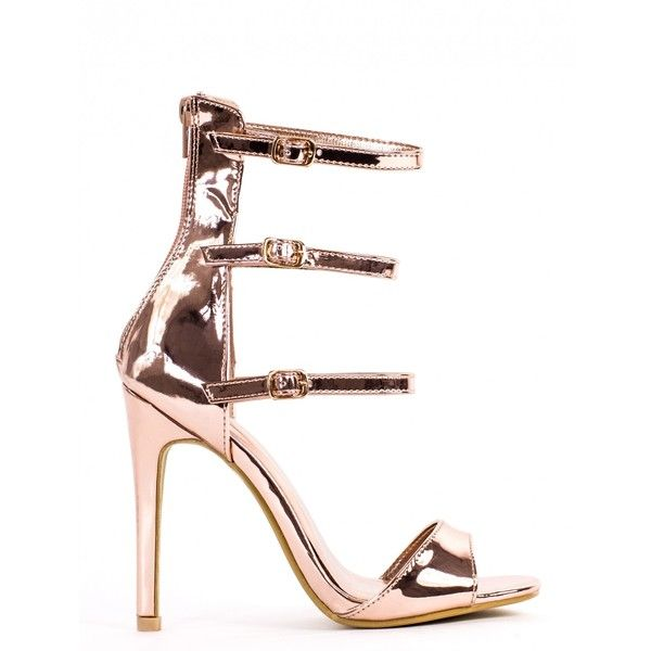 KISS IT BETTER ROSE GOLD STRAPPY HEELS ❤ liked on Polyvore featuring shoes, sandals, strap sandals, strappy high heel sandals, strappy heeled sandals, strap heel sandals and strappy shoes