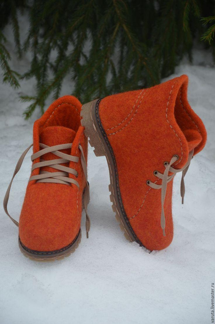 Купить Ботинки женские валяные Солнце в подарок - рыжий, валенки для улицы, обувь ручной работы