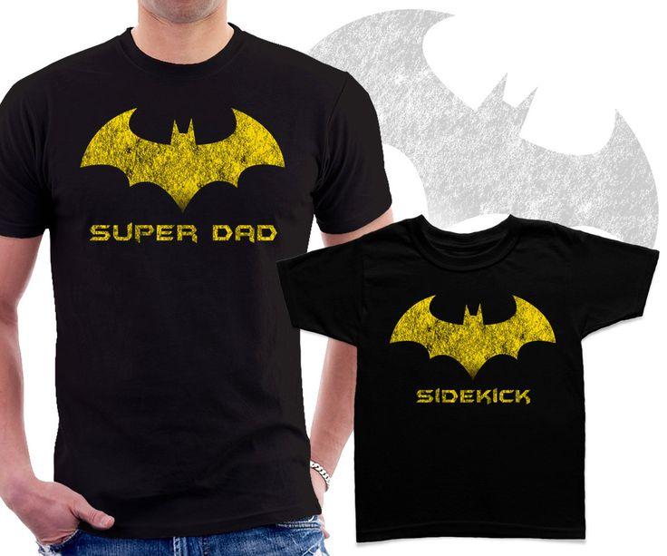 Super Dad and Sidekick Matching T shirts Dad and kid Superhero set (27.95 USD) by BestTeeShirts