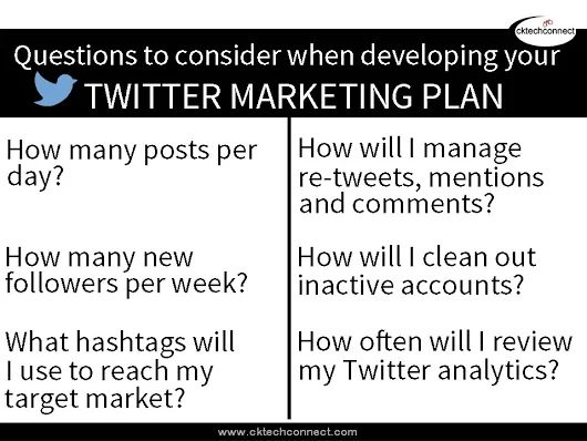 Tips for Twitter Marketing Plan - Twitter Tips -cktechconnect social media marketing, social media services, social media training, ontario canada, graphics, graphic design, content development, social media marketing tips Chatham-Kent Ontario, virtual online services www.cktechconnect...