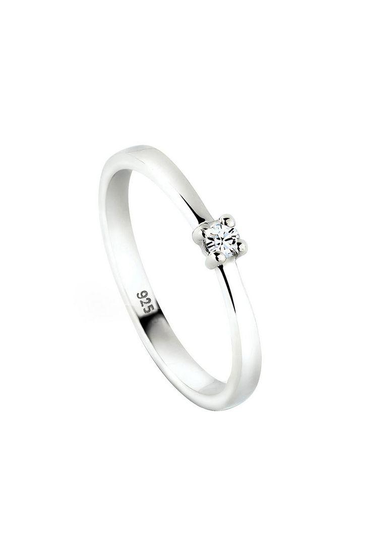 """Klassisch-eleganter Ring aus 925er Sterlingsilber besetzt mit einem Kristall (2mm) in Krappenfassung von Swarovski in CRYSTAL, einem strahlenden Weiß. Das Silber ist hochglanzpoliert.  Weitere Hilfe zur Ringgröße:  Angegebene Größe in mm entspricht """"Ring Innen-Umfang"""", Umrechnung in """"Ring Durchmesser Ø"""" wie folgt:  52mm Umfang = 16,5mm Ø 54mm Umfang = 17,2mm Ø 56mm Umfang = 17,8mm Ø 58mm Umfang..."""