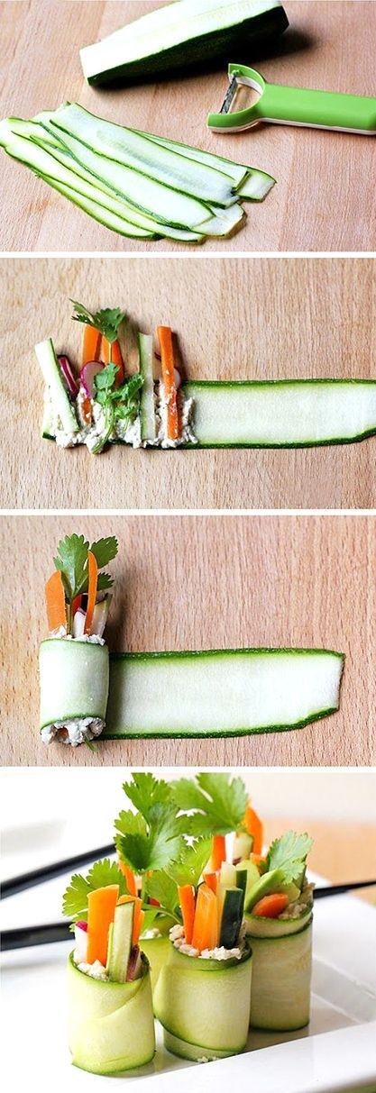 Raw food - cuketové rolky s kešu pomazánkou - DIETA.CZ