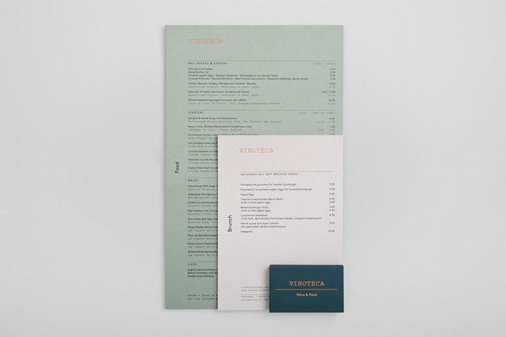 Visual identity and menus for London restaurant group Vinoteca by British graphic design studio dn&co.