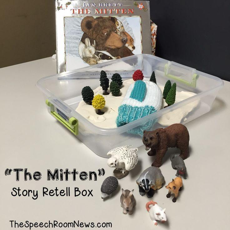 Story Retell Box for Book, The Mitten by Jan Brett (from Speech Room News)