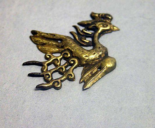 Ornament, gold. Goryeo dynasty (918-1392), Korea  三足鳥