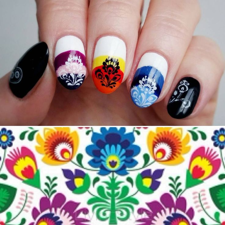 """My folk nails with Blueberry01 plate  || Na ludowo z Blueberry01   #notd #nails #paznokcie #mani #manicure #nailsofinstagram #nailstagram #nailswag…"""