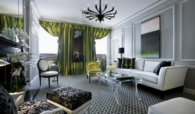 Art Deco inspired living room- lucite table again!  I want still!