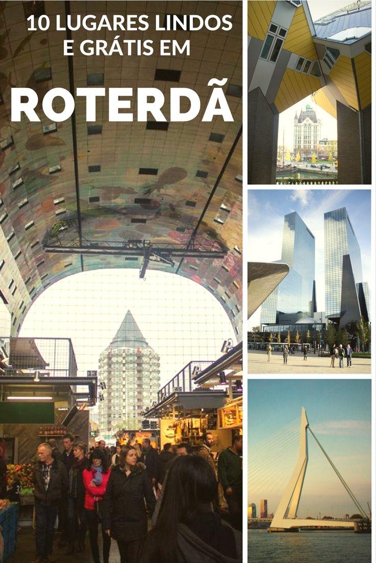 Além de linda e moderna,a cidade de Roterdã, na Holanda, oferece muitas atrações grátis!  Destaque desta foto: o mercadão da cidade(Markthal), as casas Cubos (Kubus woning), a arquitetura da cidade e a Ponte Eramus (Erasmusbrug).  No post veja todas os outros 10 lugares grátis pela cidade