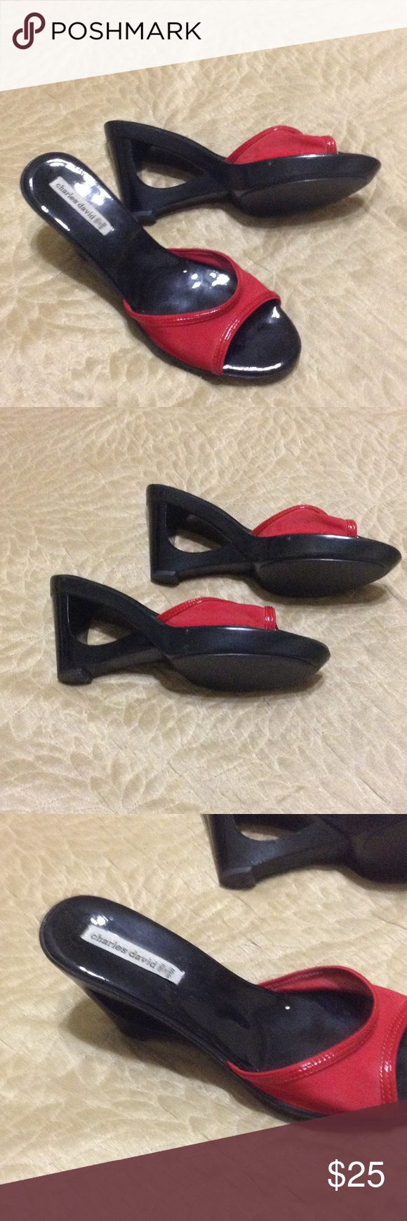 Charles David red wedges shoes Charles David red material in the front is plastic mesh and heels are hard plastic too,wedge shoes, made in Italy, size 8 Charles David Shoes