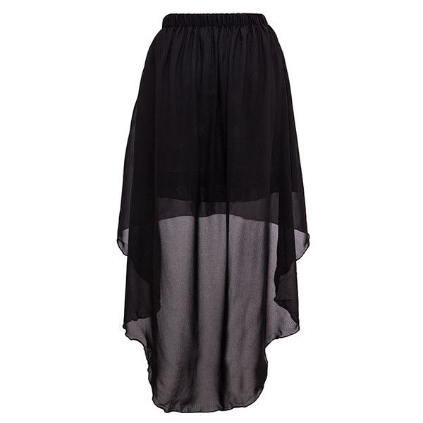 Short Skirt With Sheer Dip Hem Overlay (€15) ❤ liked on Polyvore featuring skirts, mini skirts, bottoms, gonne, saias, black, black hi low skirt, sheer skirt, black layered skirt and black mesh skirt