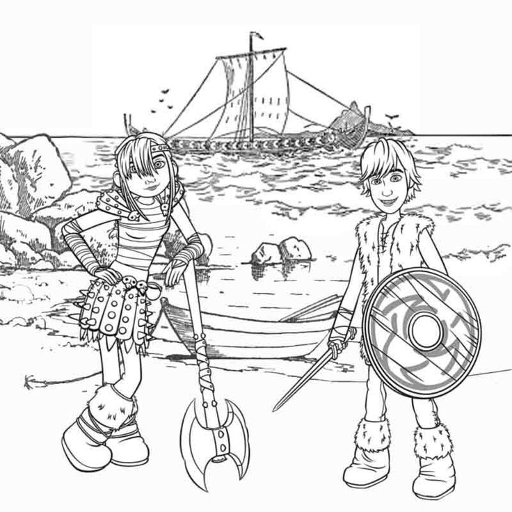 Viking Coloring Pages For Adults : Kids cartoon viking snotlout astrid and hiccup how to