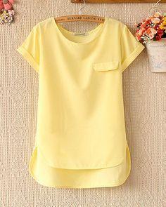 blusa de manga corta color amarillo bajo
