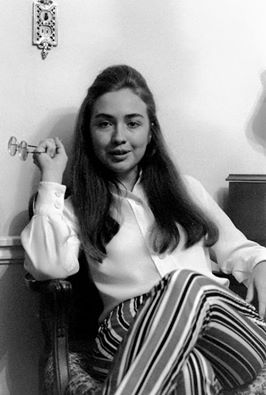Image may contain: 1 person , stripes and indoor Young Hillary!