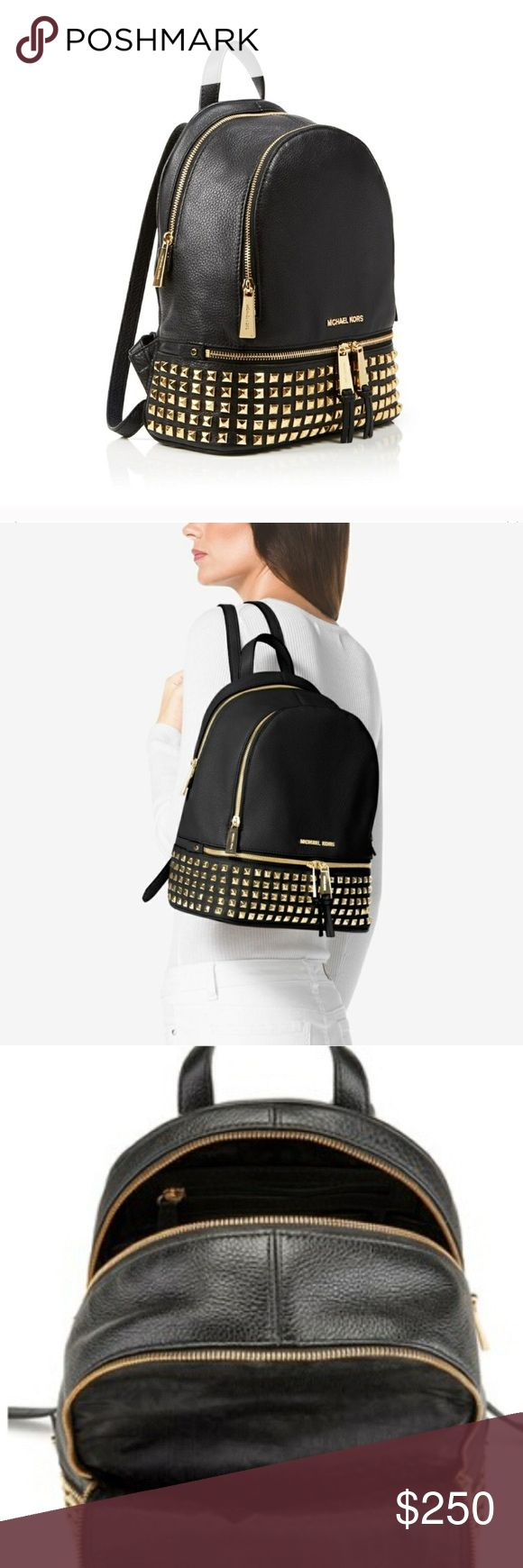 *4TRADE* Michael Kors Rhea Gold Stud Backpack NWOT NWOT Michael Kors Rhea Gold Studded Backpack. Medium size. Authentic. New w/o tags or dust bag. Only wore to try on once! Priced high; looking to **TRADE ONLY** for the same or similar (new or like new) MK Rhea backpack in size SMALL or XS or MINI in black, black/gold, or black/silver + $ difference. *Bundle deal not applicable* Michael Kors Bags Backpacks