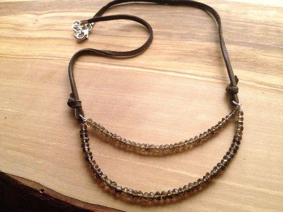 smokey sky leather necklace by eversdesigns on Etsy, $35.00
