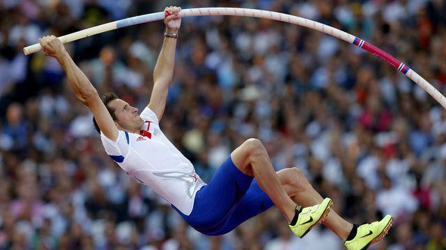Pole Vaulting - London 2012 - Le Français Renaud Lavillenie champion olympique du saut à la perche.