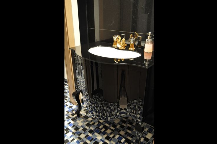 Custom made bathroom cabinet, black laquered, interior design