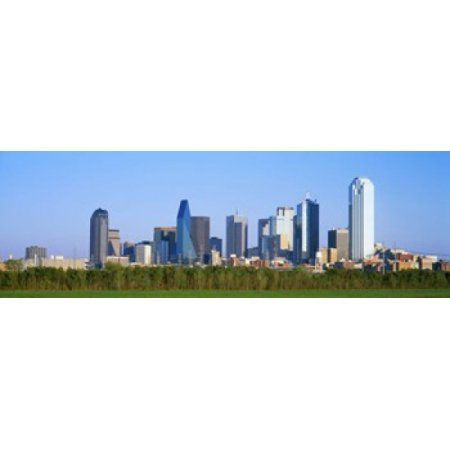 Skyline Dallas TX USA Canvas Art - Panoramic Images (36 x 12)