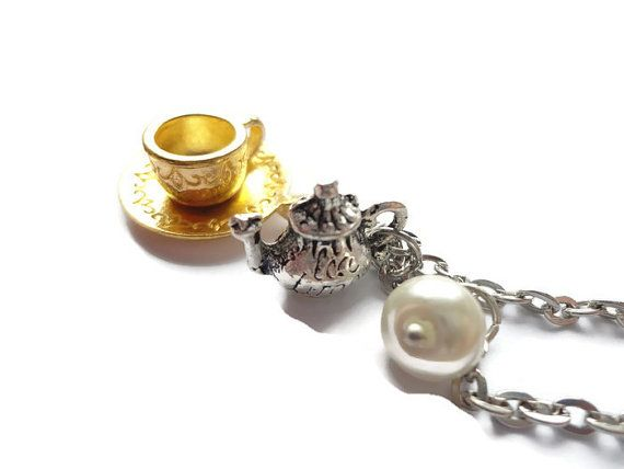 Tea Break Necklace Teapot Pendant  Cup jewelry by HillyBCreations