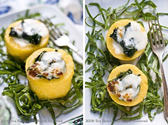 Dischi di polenta gratinati con spinaci saltati e taleggio