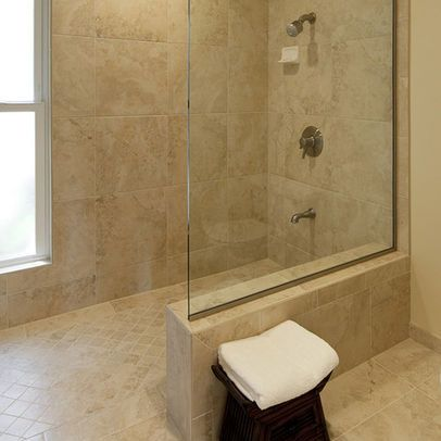 would love semi open shower by window for light but with bench seat built in - Remodeled Bathroom Showers