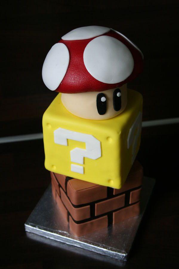 Mario cake with blocks and mushroom.