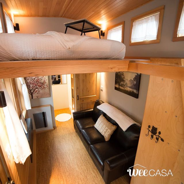 The Golden Aspen: a beautifully designed tiny house with just 170-sq-ft of space! Available for rent at the WeeCasa Tiny House Resort in Lyons, Colorado!