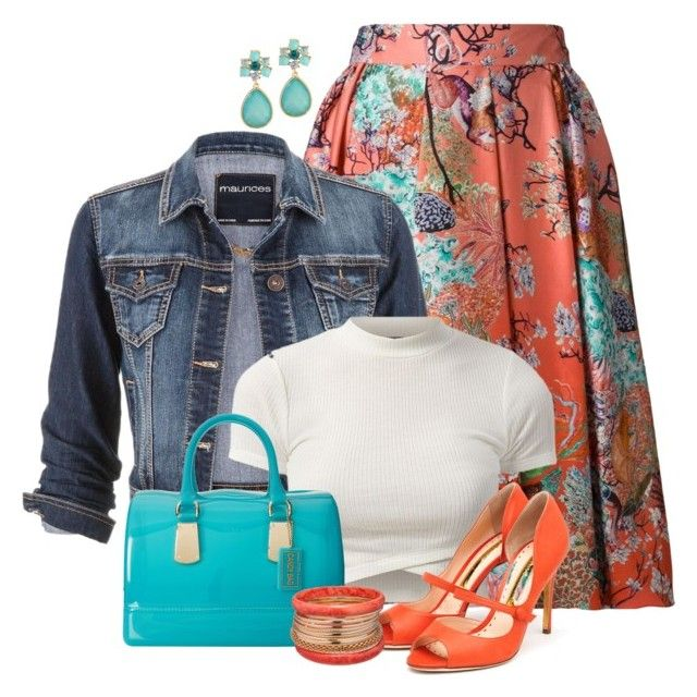 Denim jacket and floral skirt by ginga1203 on Polyvore featuring maurices, Mary Katrantzou, Rupert Sanderson, Furla and Ashley Stewart
