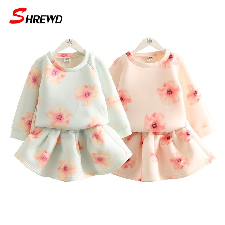 ==> [Free Shipping] Buy Best Set Baby Girl 2016 New Autumn Fashion Pink Flowers Girl Set Clothes Long Sleeve T ShirtElastic Waist Skirts Kids Clothes 4146W Online with LOWEST Price | 32714904363