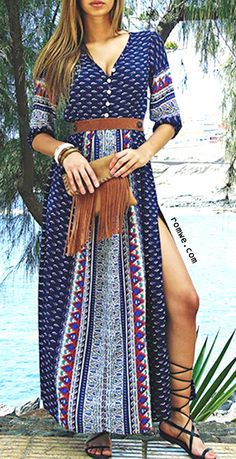 Summer Beach Style - Boho Style - Navy Half Sleeve Vintage Print Split Maxi Dress from http://romwe.com