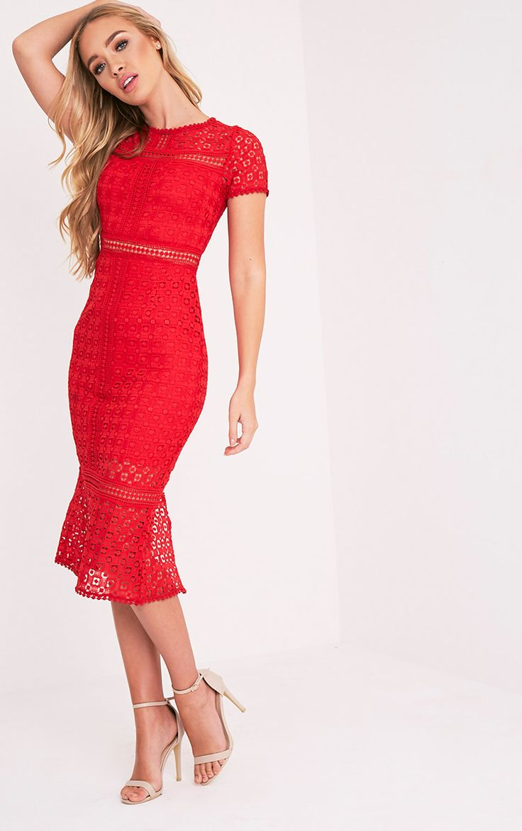 Premium Red Crochet Lace Midi Dress With 70s inspired styles still being a dominant theme to new...