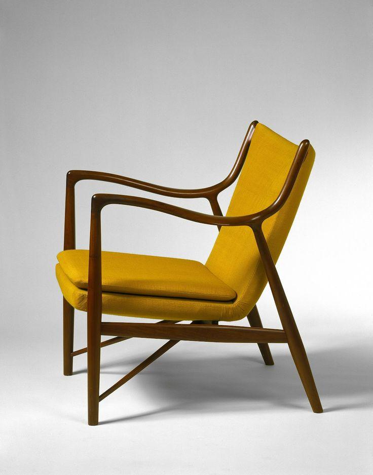 Finn Juhl, #NV-45 Teak and Leather Armchairs for Niels Vodder, 1945.