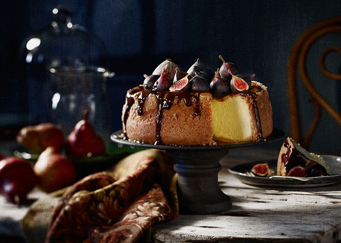 Treat yourself to a slice of cheesecake with caramel topping and chocolate drizzle.