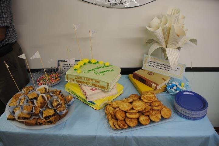 """My family and friends threw the best surprise party an author could want! Check out those book cakes and page """"flowers""""!"""