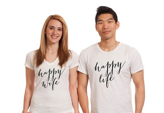 """Gift for Couples T-Shirt Set """"Happy Wife Happy Life"""" Shirts for Bride and Groom Husband and Wife, Newlyweds, Gift for Couple (Item - SHW200)"""