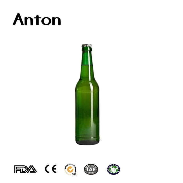 500ml Green glass beer bottles manufacturers with crown cap