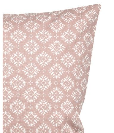 Dusky pink. Cushion cover in cotton twill with a printed pattern and concealed zip.