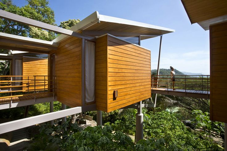 Cantilevered wood house