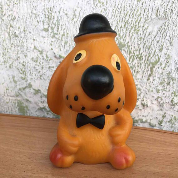 Soviet rubber toy dog  Vintage rubber toy puppy  Russian