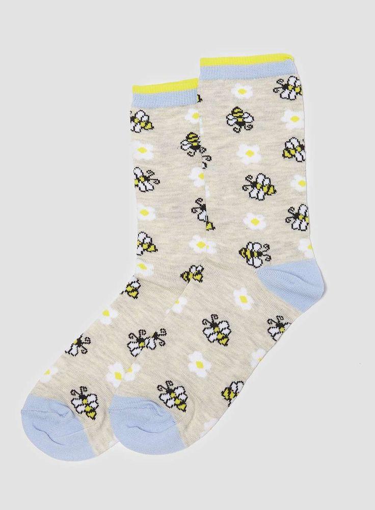 Chaussettes grèges à marguerites et abeilles