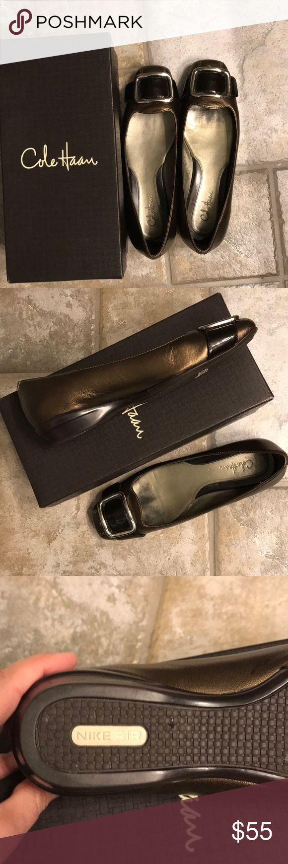 Cole haan air genie buckle brown metallic Sold with shoe bag and box. Great Cole haan wig Nike air soles. Brown metallic buckle shoe with brown patent strap at toe Cole Haan Shoes Flats & Loafers