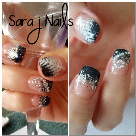 New Zealand Nails, Silver Fern, Acrylic Nail Design, Black and silver blend, bling nails