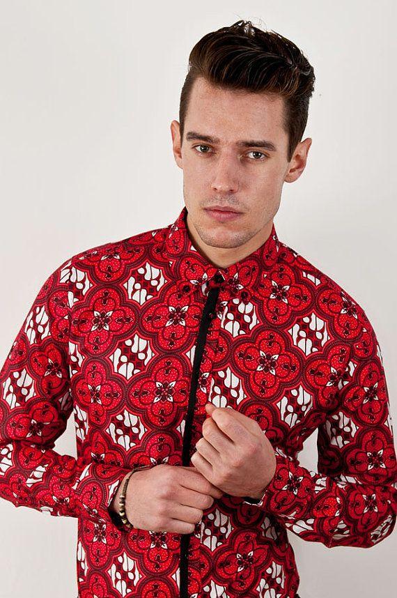 Red Batik Print Long Sleeve Men's Shirt Black Trim from IntentLondon, £60.00