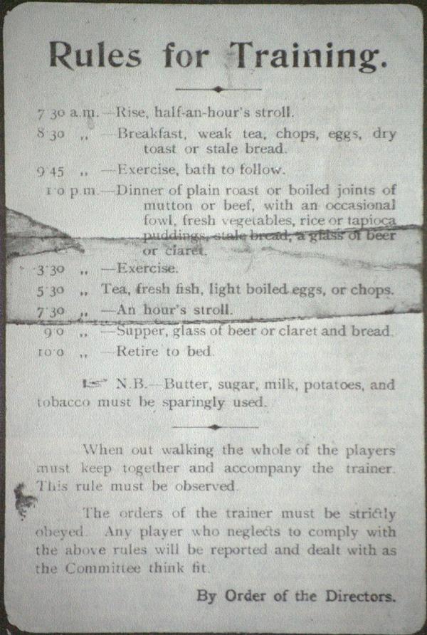 Rules for Training, Sunderland Association Football Club, 1897.