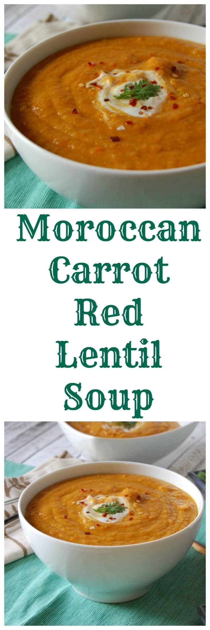 Moroccan Carrot Red Lentil Soup is full of the flavors of cumin, turmeric, coriander, paprika and cinnamon that complements the red lentils and carrots.