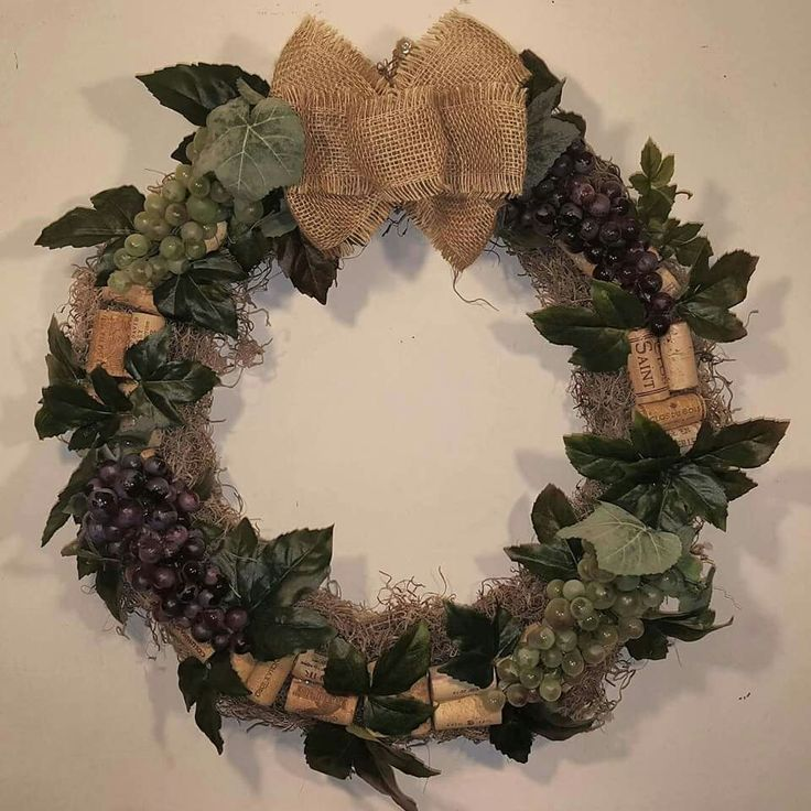 Grapevine Wreath With Wine Corks And Burlap Bow Available